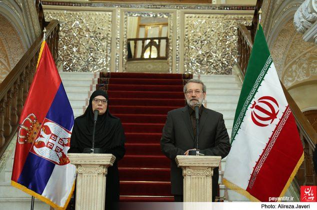 دیدار علی لاریجانی و مایا گویکوویچ رئیس مجلس صربستان / عکس: علیرضا جاوری