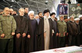 اقامه نماز رهبر انقلاب بر پیکر شهیدان سلیمانی و همرزمانش
