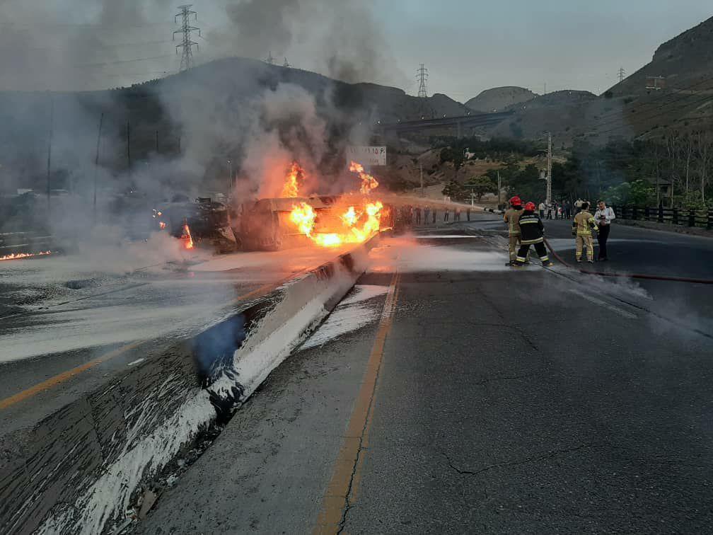 فوت یک نفر در حادثه واژگونی تانکر حامل سوخت در جاجرود