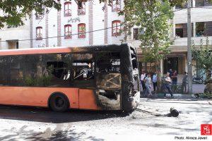 پایان تیتر: آتش سوزی اتوبوس خط واحد خیابان فرجام