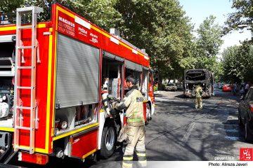 آتش گرفتن اتوبوس خط واحد منطقه ۴